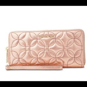 NWT Michael Kors quilted rose color wallet
